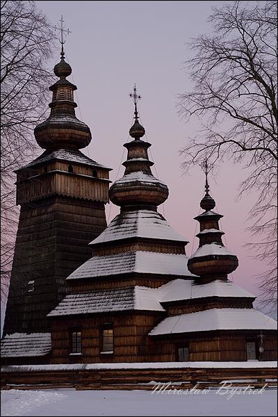 Kwiatoń cerkiew zimą przed wschodem słońca
