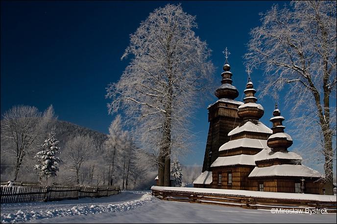 Kwiatoń cerkiew zimą Beskid Niski