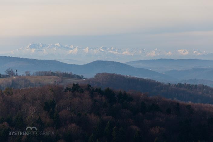 panorama Tatr, gmina Pleśna